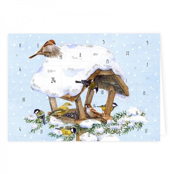 Doppelkarte-Adventskalender Vogelhaus